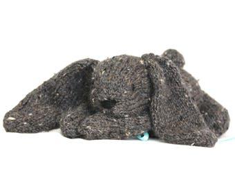 Hand Knit Bunny Rabbit Tweed Alpaca dark Grey Stuffed Mini handmade Collectible plush