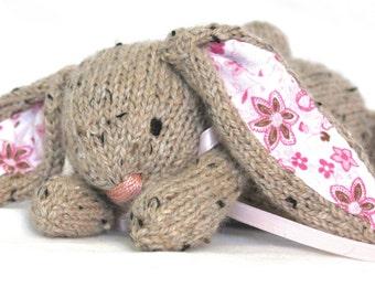 Hand Knit Bunny Rabbit Tweed Alpaca Off White cream stuffed handmade mini Collectible plush