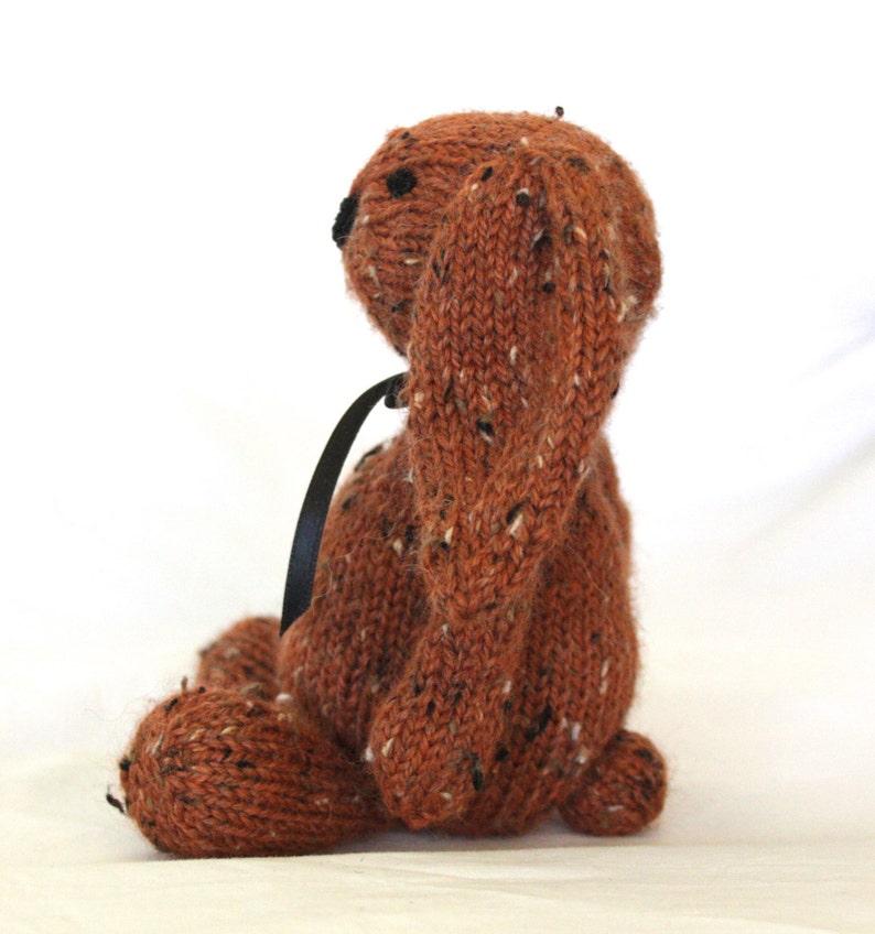 Hand Knit Bunny Rabbit Tweed Alpaca Stuffed Mini Rust Orange handmade collectible plush