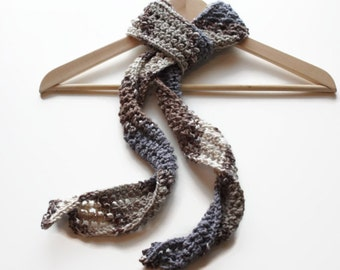 Hand Knit scarf blue beige brown lacy any season men women girls handmade any season skinny