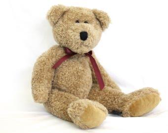 Clinton Boyds Bear Vintage Collectible stuffed plush Brown Tan Bear jointed