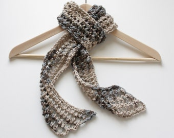 Hand Knit cotton scarf blue beige brown lacy 100% Cotton handmade any season skinny