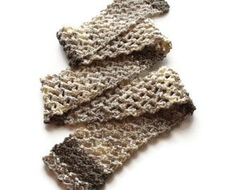 Hand Knit scarf  beige brown yellow cream off white lacy handmade any season