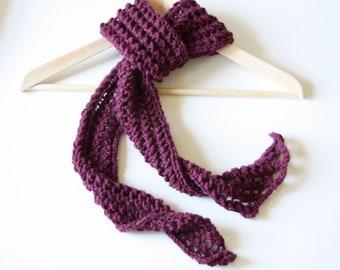 Hand Knit wool scarf plum purple lacy any season handmade skinny