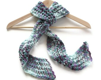 Hand Knit scarf eggplant mint green purple 100% cotton lacy handmade any season skinny