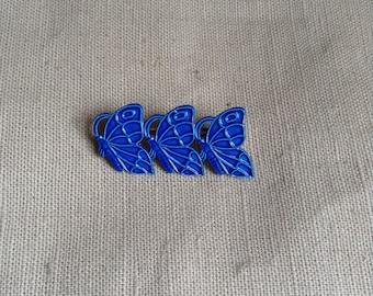 "1970's ""3 butterflies "" brooch (blue)."