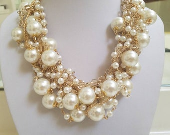 Divine Pearl Cluster Necklace