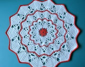 Vintage 1980s unused hand-crocheted white christmas red cotton dollie tablet tablecloth