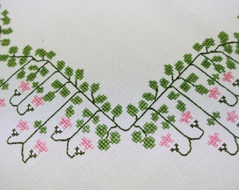 Very well done vintage 1950s handmade cotton tablecloth with pink/ green Linea flower embroidery on bone white bottom