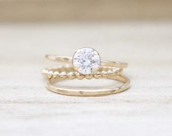 Limited edition CZ stacking rings