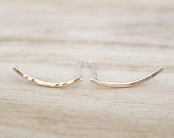 Gold ear climbers, dainty gold earrings, gold earrings 14K, ear climber, ear jacket, ear cuff, ear crawler, ear climber earrings, earrings