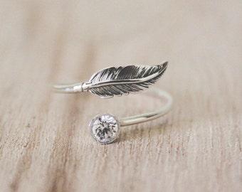 Feather + CZ ring, feather ring, feather and cz ring, sterling silver ring, sterling silver, cz ring, feather and cz ring, fall ring
