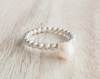 Large pearl on a beaded band, freshwater pearl, 6mm pearl, stacker, stacking ring, sterling silver, thin beaded band