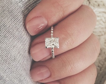 Emerald cut CZ on a thin beaded stacking ring, emerald cut, beaded ring, stacker, stacking ring, sterling silver ring, stackable ring