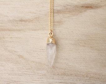 Quartz spike necklace, gold spike, spike necklace, layering necklace