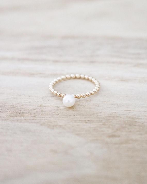 Pearl Ring Gold Pearl Ring Beaded Pearl Ring Pearl Stacker Etsy