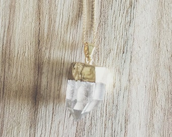 Gold + Quartz necklace, gold necklace, quartz, quartz necklace, gold and quartz necklace