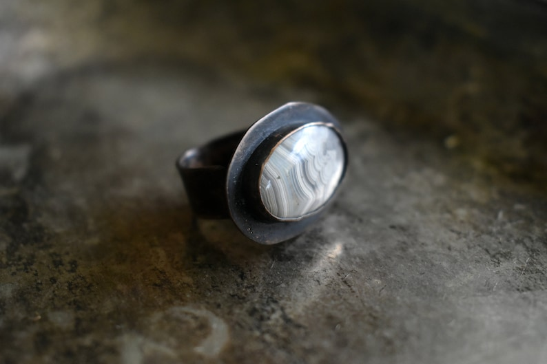 Crazy Lace Agate Ring Adjustable Ring Rustic Copper Stone Ring Solitaire Ring Gift For her Mothers Day Present Stone Jewelry