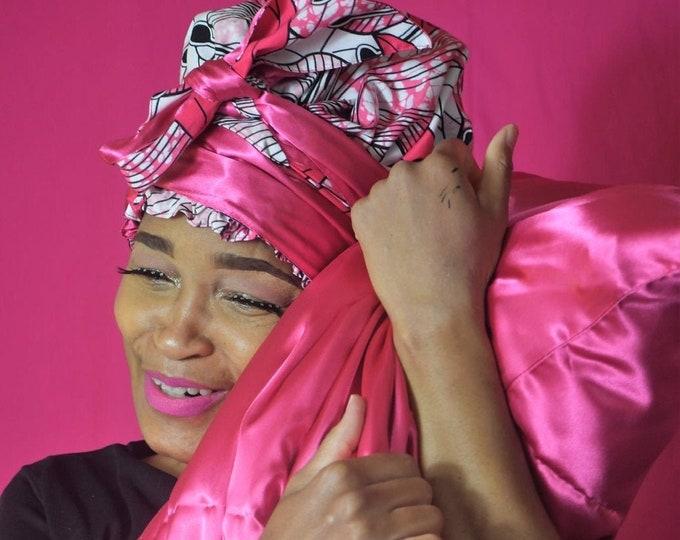 FOLA Fuchsia Satin Lined Bonnet Headwrap FaceMask  & Satin Pillowcase Deluxe Gift set, Reusable FaceMask w/ Filter Pocket,  DLS1001