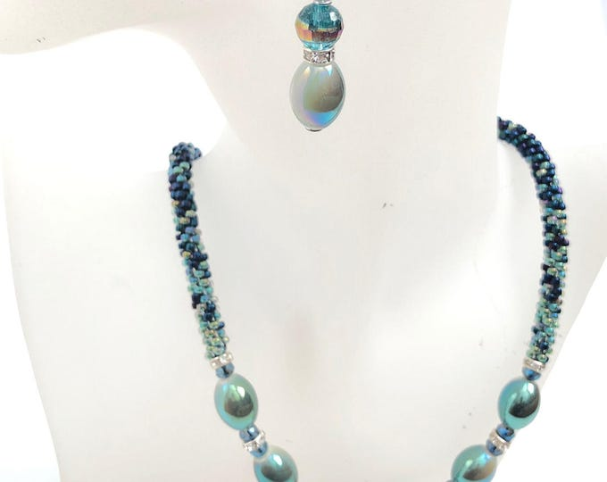Iridescent Teal Ombré Necklace & Earrings Set/ Kumihimo beaded braid/ handcrafted braid/ Spring Jewelry