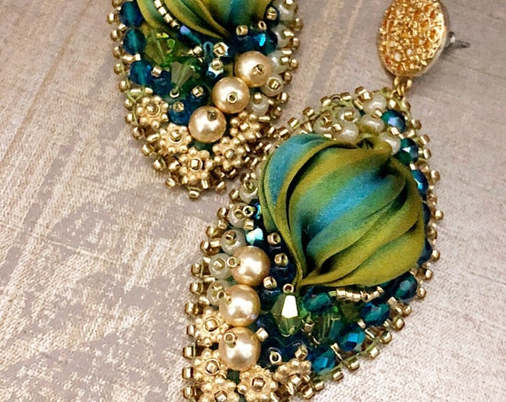 Silk Peacock Earrings