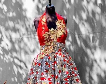 RED SOIRÉE Halter Neck Cocktail Dress, African Wax Print Dress, Ankara Dress, Kitenge Dress, Sku APD 1010
