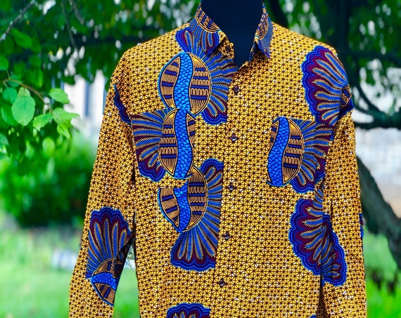 Size 3X African Wax Print Men's Long Sleeve Shirt, Ankara Shirt, Summer Shirt, Cotton Shirt, Kitenge Shirt