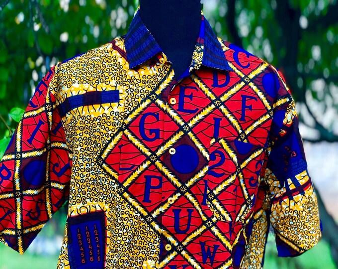 Size 3X Golden Yellow African fabric Men's Short Sleeve Shirt, Ankara Shirt, Summer Shirt, Cotton Shirt, Kitenge Shirt