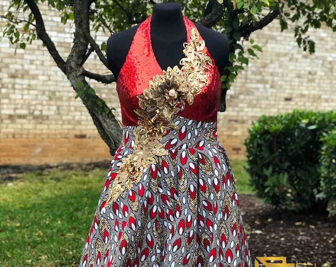 RED SOIRÉE Halter Neck Ball Gown, African Wax Print Dress, Ankara Dress, Kitenge Dress, Sku APD 1010
