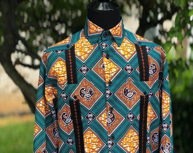 "AFRICAN PRINT GUAYABERA Cubanos shirt , ""Afro-Bera"" Men's Shirt, Long Sleeve African Print Shirt, Ankara shirt, Kitenge shirt."