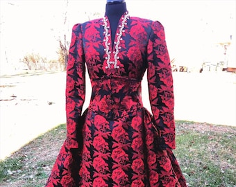 RED MAJESTE Diamanté Brocade Mermaid Dress & Corset Overskirt, Red formal dress