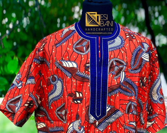 Embroidered African Wax Print Men's Short  Sleeve Shirt, Ankara Shirt, Summer Shirt, Cotton Shirt, Kitenge Shirt