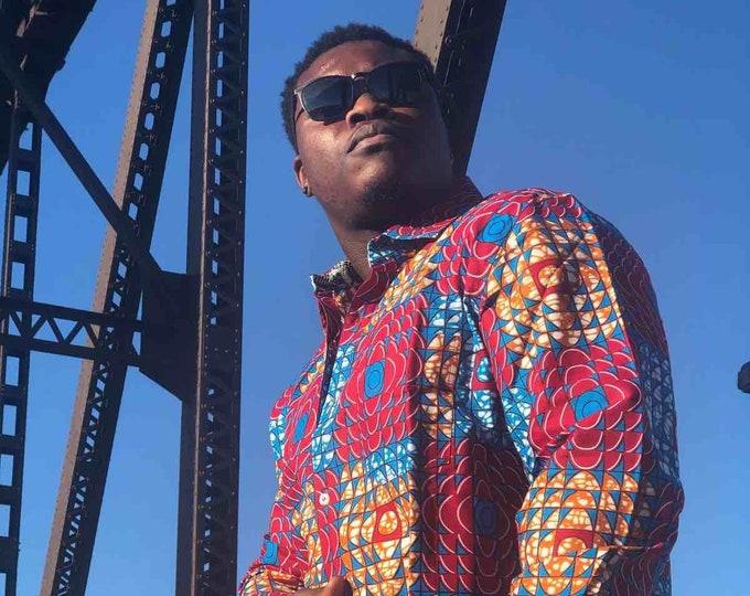 Blue Red & Bronze Men's Dress Shirt, African Print Shirt, Long Sleeve Shirt, Ankara Shirt SKU MS1020