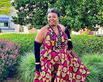 Fuchsia n Bronze Halter Neck Dress, Midi Ankara Women's  Dress, Hot Babe outfit, African Print dress SKU APD1016
