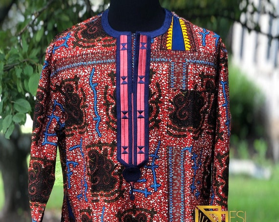 Embroidered African Wax Print Men's Long Sleeves Shirt, Ankara Shirt, Summer Shirt, Cotton Shirt, Kitenge Shirt