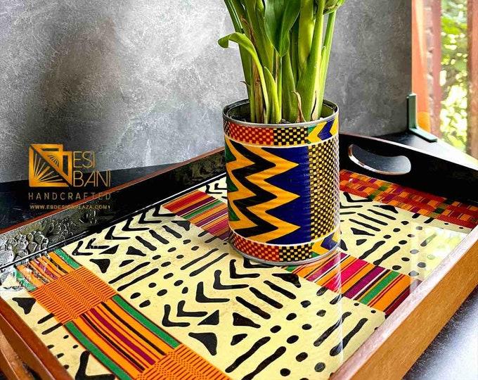 Kente Mudcloth Resined Trays, Wood & Fabric Trays, Wedding Gift Trays , Gold n' Blue Tray,  Ankara African Tray SKU KMT1001