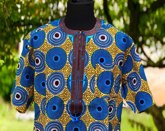 Embroidered African Wax Print Men's Short Sleeves Shirt, Ankara Shirt, Summer Shirt, Cotton Shirt, Kitenge Shirt