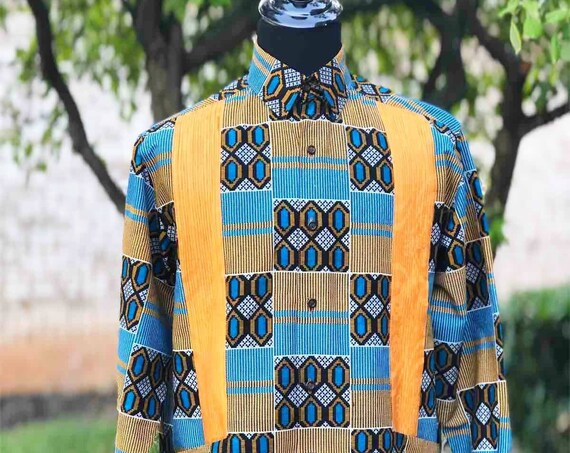 "AFRICAN PRINT GUAYABERA shirt , ""Afro-Bera"" Men's Shirt, Long Sleeve African Print Shirt, Ankara shirt, Kitenge shirt."