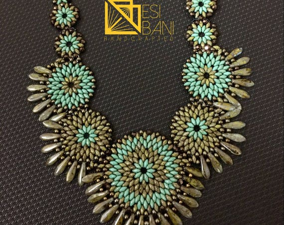 Turquoise and Olive Circles Necklace