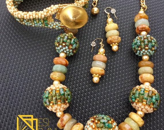 Sage and Beige Jewelry Set
