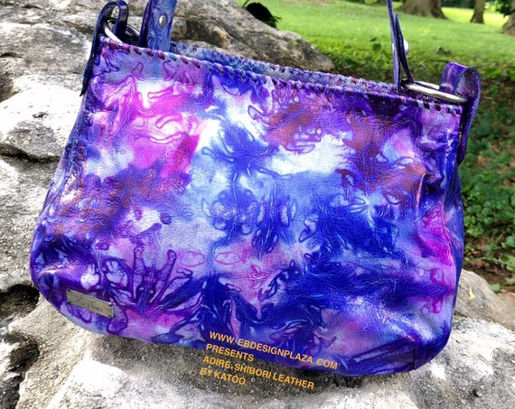TENGRELA Adiré/Shibori Leather Handbag, African Tie Dye Leather, Hobo Bag,