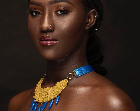 Blue 'n' Yellow Diva Neckpiece, handsculpted jewelry, Global Chic neckpiece
