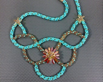 Seductive Criss Cross Turquoise/Copper Necklace