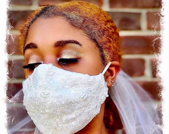 COUTURE BRIDAL FACEMASK, Special Occasion Mask, Bridesmaids, 100%Lace Silk & Cotton Reusable FaceMask w/ Filter Pocket, Shaped Mask BFM1001