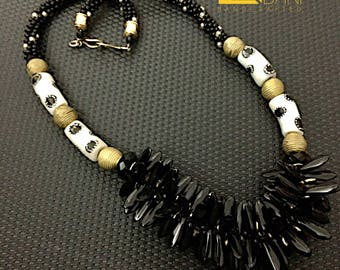 Recycled Ghana Glass & Brass Beaded Necklace