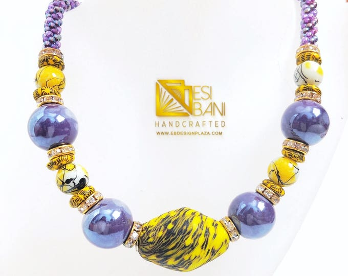 Spring on My Mind Necklace/Purple/ Yellow/ Kumihimo/Krobo Recycled Glass Beads