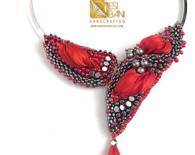 Calienté Valentine Neckpiece!, Bead Embroidered Necklace, Swarovski Pearls, Blood Red Silk Shibori