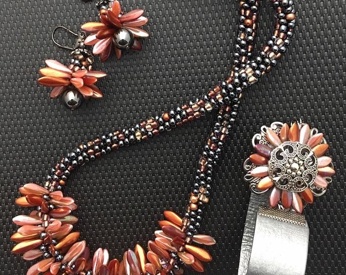 Iridescent Copper & Pewter Jewelry Set