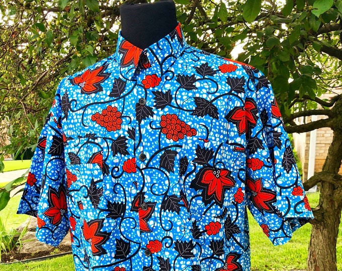 Blue Vine Men's Short Sleeve Shirt, Ankara Shirt, African Wax Print Shirt, Summer Shirt, Cotton Shirt, Kitenge Shirt