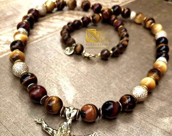 Men's Tiger Eye & Cubic Zirconia Mfalme Necklace/ Men's Jewelry/ Men's Gemstones Jewelry